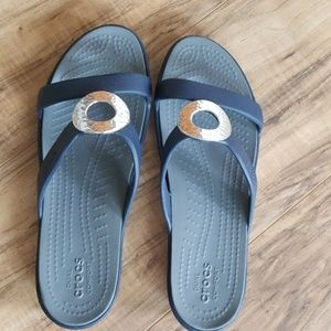 Navy Croc Sandals